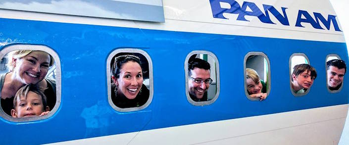 people in plane windows