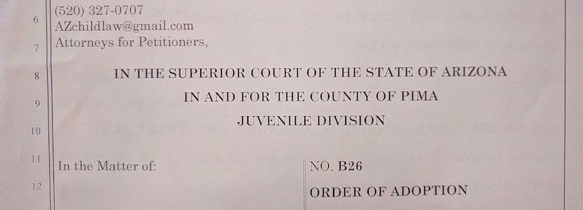 Superior Court Order of Adoption document