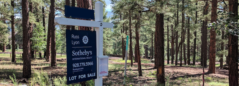 "sign saying ""lot for sale"" in front of treed lot"