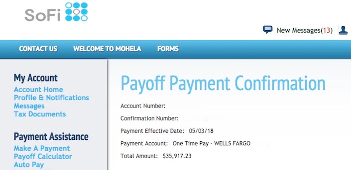 Student loan payoff of ~$36k via SoFi.