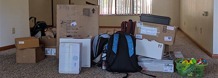 boxes and misc stuff in empty house