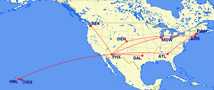 Flight map showing flights to Hawaii, Seattle, Maine, Atlanta, and other desitnations