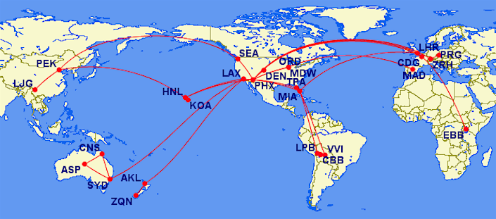 Air routes all over the world