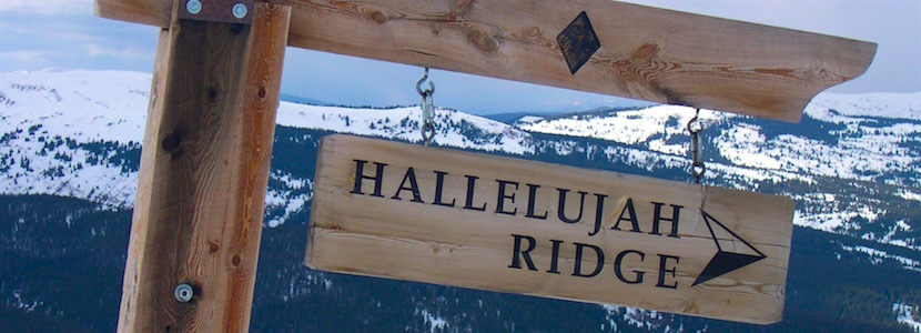 "Black diamond ski run sign: ""Hallelujah Ridge"""