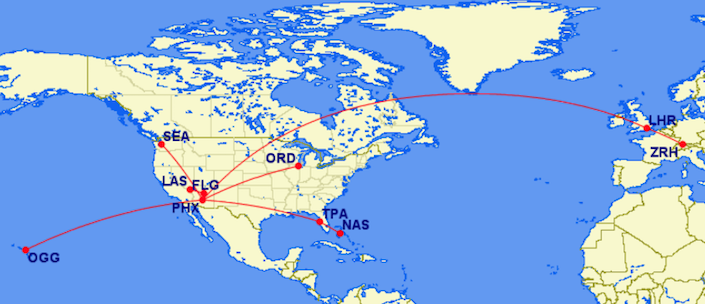 map of trips listed in above text