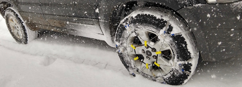 car tires with chains in snow