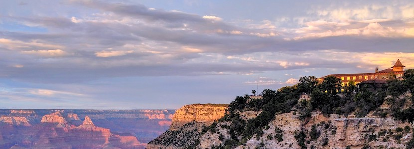 sunset over El Tovar at the Grand Canyon