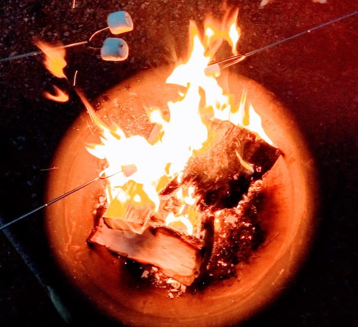 Campfire with marshmallow roasting