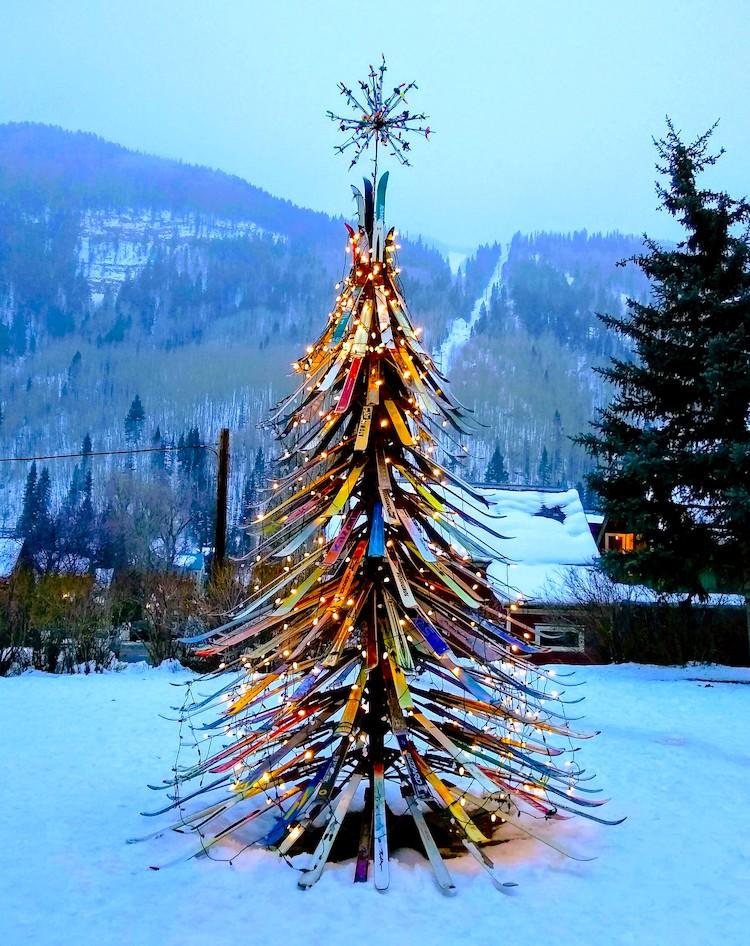 Christmas tree made of skis
