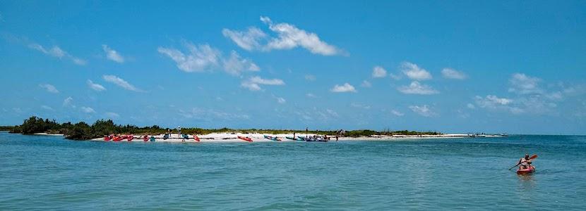 island with kayaks